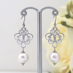 Silver tone rococo style white Japanese cotton pearl earrings