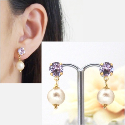 Dangle violet swarovski crystal and cotton pearl invisible clip on earrings1