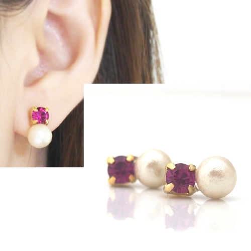 Fuchsia Swarovksi & cotton pearl invisible clip on earrings6