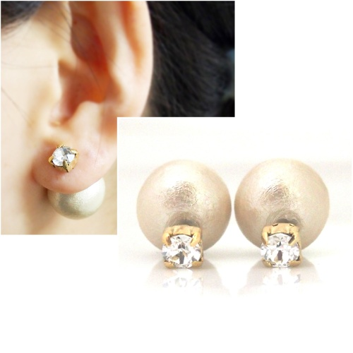 light beige double cotton pearl earrings_Tribal pearl earrings3