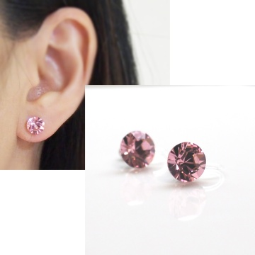 light pink light rose swarovski crystal invisible clip on earrings non pierced earrings 3