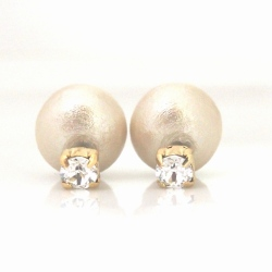 3 Way Light Beige Japanese Cotton Pearl Double Sided Earrings