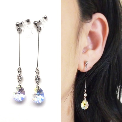 "<img src=""dangle-teardrop-10mm-ab-aurora-borealis-swarovski-crystal-invisible-clip-on-earrings7.jpg"" alt=""pierced look and comfortable dangle wedding and bridal dangle swarovski crystal invisible clip on earrings""/>"