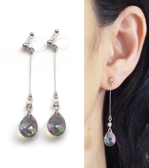 "<img src=""dangle-teardrop-green-black-paradise-shine-swarovski-crystal-invisible-clip-on-earrings8.jpg"" alt=""pierced look and comfortable dangle swarovski crystal paradise shine black swarovski invisible clip on earrings""/>"