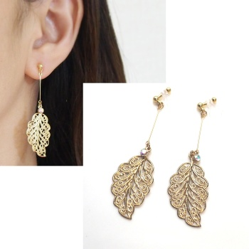 dangle lage gold leaf Filigree and crystal invisible clip on earrings non pierced earrings