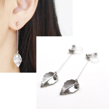 dangle silver leaf and crystal invisible clip on earrings non pierced earrings