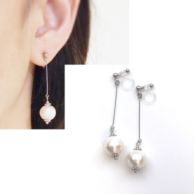dangle silver white cotton pearl invisible clip on earrings non pierced earrings 3
