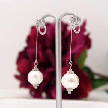 Dangle white cotton pearl invisible clip on earrings