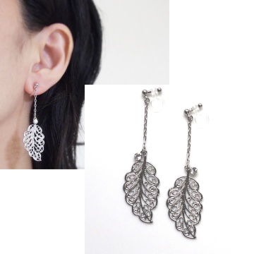 danlge large silver leaf and crystal invisible clip on earrings non pierced6