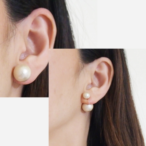 light beige double cotton pearl invisible clip on earrings8