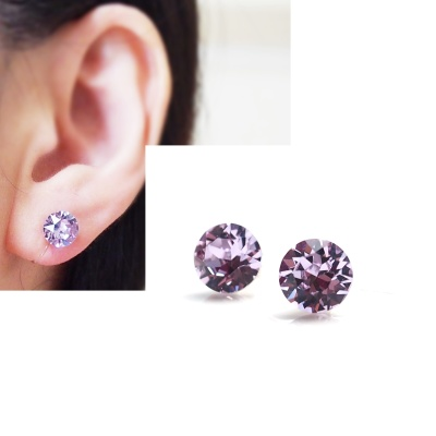 light purple violet swarovski crystal invisible clip on earrings non pierced earrings 8
