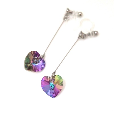 Crystal Vitrail Light Swarovski Heart Invisible Clip on Earrings