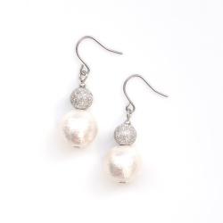 Snowballs: Dangle Silver Stardust Balls & White Cotton Pearl Titanium Earrings for Sensitive Ears, Hypoallergenic, Nickel Free Earrings