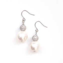 Snowballs: Dangle Silver Stardust Balls & White Cotton Pearl Titanium Earrings for Sensitive Ears, Hypoallergenic, Nickel Free Earrings
