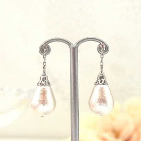 Dangle teardrop cotton pearl invisible clip on earrings_bridal pearl clip earrings5