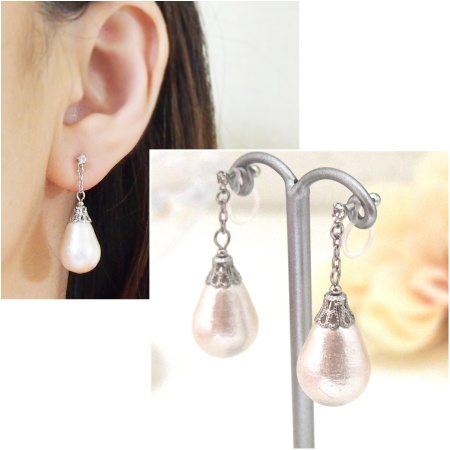 Dangle teardrop cotton pearl invisible clip on earrings_bridal pearl earrings1