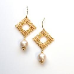 Gold Square Flower pattern filigree & Light Beige Japanese Cotton Pearl Titanium Earrings for Sensitive Ears, Hypoallergenic Earrings