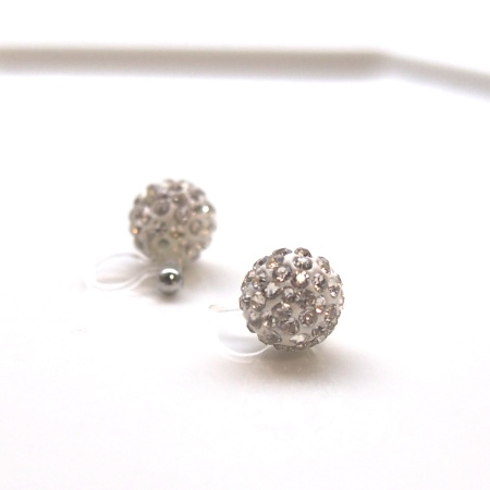 Crystal pave ball invisible clip on earrings