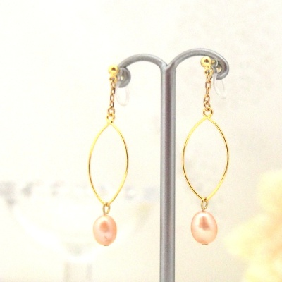 Dangle gold hoop & orange freshwater pearl invisible clip on earrings5