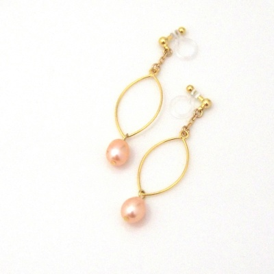 Dangle gold hoop & orange freshwater pearl invisible clip on earrings6