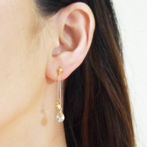 dangle Golden Shadow Swarovski crystals invisible clip on earrings_non pierced earrings