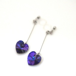 "<img src=""dangle-heart-crystal-heliotrope-swarovski-invisible-clip-on-earrings-non-pierced-2.jpg"" alt=""pierced look and comfortable Wedding bridal Dangle Crystal Deep Blue Heliotrope Swarovski Heart Invisible Clip on Earrings non pierced earrings""/>"