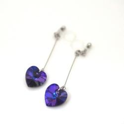 "<img src=""dangle-heart-crystal-heliotrope-swarovski-invisible-clip-on-earrings-non-pierced-2.jpg"" alt=""pierced look and comfortable Wedding bridal Dangle Crystal Deep Blue Heliotrope Swarovski Heart Invisible Clip on Earrings non pierced earrings""/>"