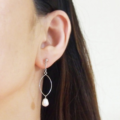 Dangle silver hoop & white freshwater pearl invisible clip on earrings