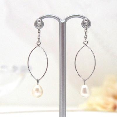 Dangle silver hoop & white freshwater pearl invisible clip on earrings3