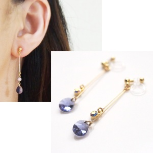 Dangle teardrop light purple Tanzanite Swarovski crystal invisible clip on earrings 2