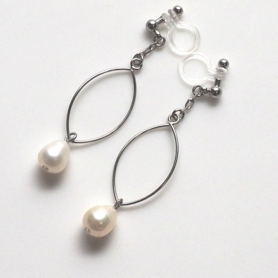 dangle silver hoop and freshwater pearl invisible clip on earrings