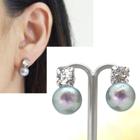 Totally invisible Swarpvski crystal 10 mm rich gray cotton pearl invisible clip on earrings 2