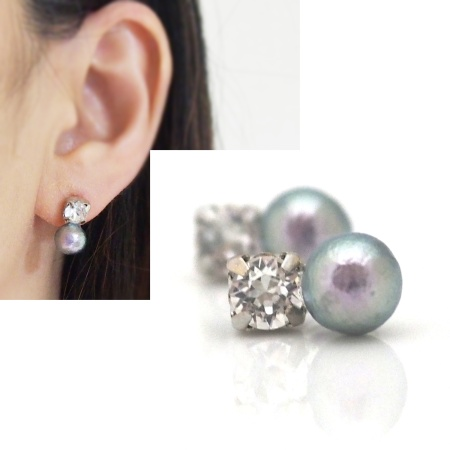Totally invisible Swarpvski crystal 8 mm rich gray cotton pearl invisible clip on earrings 2