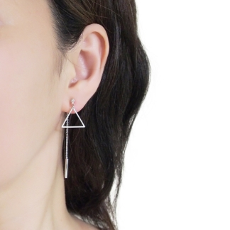 Trendy double sided style invisible clip on earrings