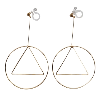 Geometric invisible clip on earrings