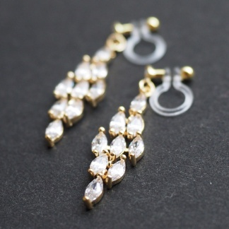 Sparkly cubic zirconia bridal invisible clip on earrings