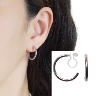 Silver invisible clip on hoop earrings