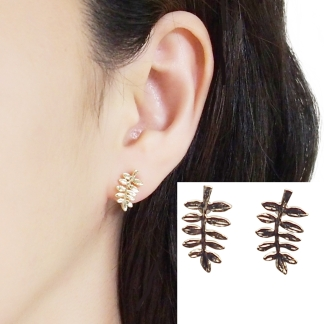 Gold leaf invisible clip on stud earrings