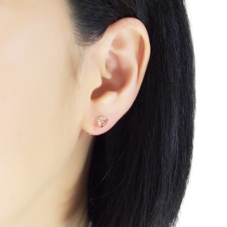 Cubic zirconia in cube invisible clip on stud earrings