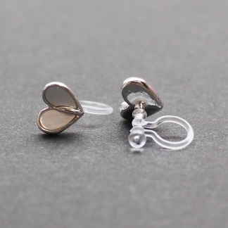 Heart mother of pearl invisible clip on stud earrings