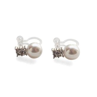 Comfortable pierced look white pearl gold clear Rhinestone Crystal  Invisible clip on stud earrings Miyabi Grace 3 - コピー.jpg