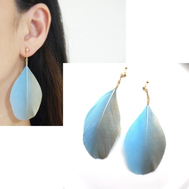 Dangle light blue and gold feather invisible clip on earrings non pierced earrings 2