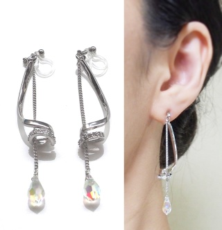 """<img src=""""dangle-long-swarovski-crystal-drop-and-silver-tube-rhinestone-invisible-clip-on-earrings2.jpg"""" alt=""""pierced look and comfortable wedding and bridal dangle swarovski crystal and rhinstone silver tube invisible clip on earrings""""/>"""