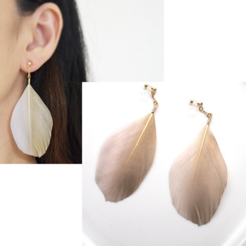 Dangle pink goose feather invisible clip on earrings non pierced earrings2