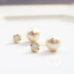 Double Sided Pale White Opal Swarovski Crystal & Light Beige Cotton Pearl Titanium Earrings for Sensitive Ears, Hypoallergenic Earrings