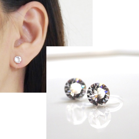 Swarovski crystal stud invisible clip on earrings non pierced earrings 5