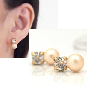 """<img src=""""totally-invisible-swarovski-crystal-and-light-orange-cotton-pearl-invisible-clip-on-earrings3.jpg"""" alt=""""pierced look and comfortable swarovski crystal and light orange cotton pearl invisible clip on earrings""""/>"""