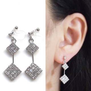 "<img src=""dangle-2-square-rhinestone-crystal-invisible-clip-on-earrings-wedding-clip-earrings2.jpg"" alt=""pierced look and comfortable wedding bridal square rhinestone crystal invisible clip on earrings non pierced earrings""/>"