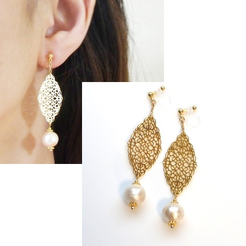 Dangle Gold Filigree & light beige Cotton Pearl Invisible Clip on Earrings2