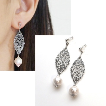 Dangle Silver Filigree & white Cotton Pearl Invisible Clip on Earrings non pierced earrings 2